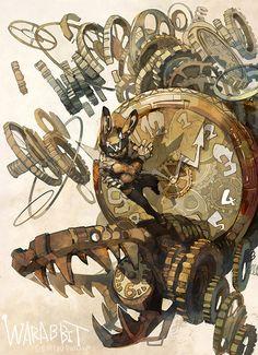 """Clock"" original illustration by Posuka Demizu Monster Draw, Arte Steampunk, Illustration Art, Illustrations, Environment Concept Art, Animation, Fantastic Art, Cute Art, Art Inspo"