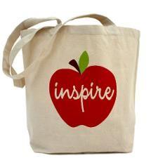 """""""Inspire"""" Apple Tote Bag #teacher #gifts #giftsunder20"""