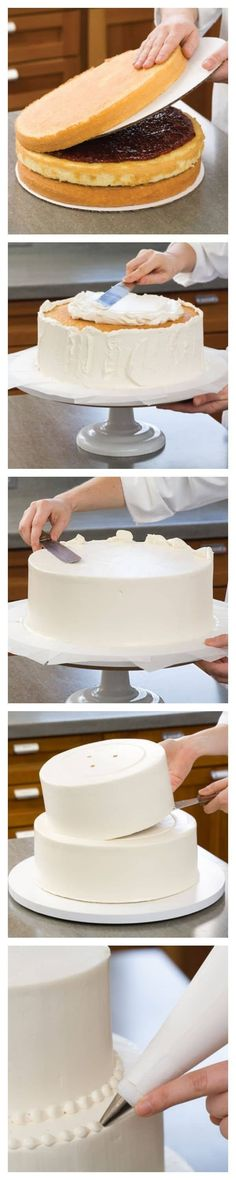 Take a look at the best diy wedding cake in the photos below and get ideas for your wedding! The wedding cake vs. Image source We've Got the Secrets to Making a DIY Homemade Wedding Cake. How To Make Wedding Cake, Diy Wedding Cake, Buttercream Wedding Cake, Wedding Cake Flavors, Wedding Desserts, Wedding Recipe, Wedding Dress, Easy Cake Decorating, Cupcakes
