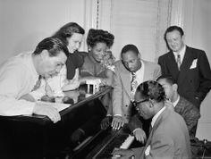 Jack Teagarden, Dixie Bailey, Mary Lou Williams, Tadd Dameron, Hank Jones, Dizzy Gillespie and Milt Orent in Williams's apartment, New York,...
