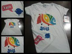 camiseta pintada a mano love you