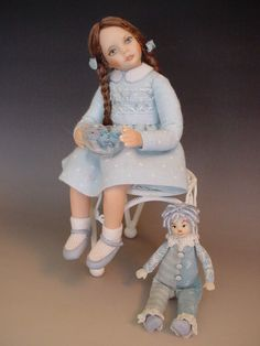 Porcelain Dollhouse Doll: Little Girl With Clown And Bowl Of Candy by Debbie Dixon-Paver