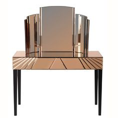 Toulouse Copper Mirrored Art Deco Dressing Table U0026 Mirror Set