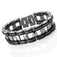 Justeel Jewelry Huge Stainless Steel Bangle Bracelet Cuff Chain Men Silver Black Rubber Justeel Jewelry. $7.99. Excellent Luster and Unimpeachable Rust and Corruption Resistance. Size HxWxL: x0.7x7.9inch; (x19x200mm). Shipping takes 2-3 weeks from China (USPS Tracking). 100% Nickel free. Save 75% Off!