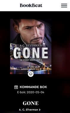 GONE - the second novel in Swedish bestselling series 'The Sydney Series' - published (in English) by Saga Egmont in May 2020. 📚🎧 #CrimeFiction #NordicNoir #books #reading #audio #Swedish #bestselling #series #ToReadIsToTravel #mystery #suspense #thriller #noir #new #TheSydneySeries #ACEfverman