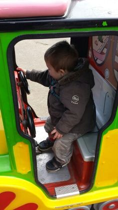 5.4.15 Skegness, Izzie's birthday trip.  Taylor rides with the pink panther