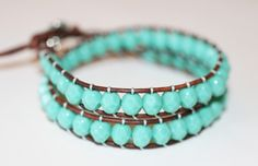 Turquoise Czech Beads Double Leather Wrap Bracelet.