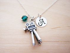 Movie Camera Charm Swarovski Birthstone Initial Personalized Sterling Silver Necklace / Gift for Her - Movie Necklace