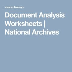 Document Analysis Worksheets | National Archives