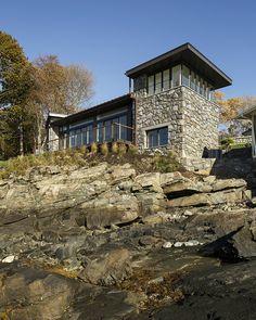 Stunning rocky shore summer cottage on Boston Harbor