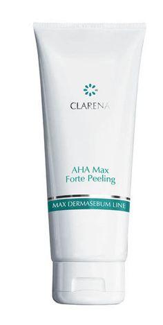 AHA Max Forte Peeling - mechaniczno-enzymatyczny peeling z kwasami owocowymi i granulkami jojoba. Peeling działa dwufazowo - granulki jojoba ścierają zrogowaciały naskórek a kwasy owocowe delikatnie złuszczają skórę zapewniając głębsze działanie oczyszczające. Peeling można stosować nawet dwa razy w tygodniu, jest wydajny i wygodny w stosowaniu.  poj. 100 ml #peeling #tradzik #oczyszczanie #acne #clarena