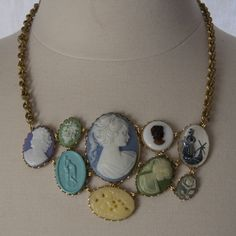 Cameo bib necklace in cool colors - Larissa Loden Jewelry