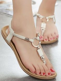 This item is a pair of Women Sandals Shoes, which features with flip flops design, metal decorations and low wedges heels, a travel essential to well match with your maxi dresses or hot pants in summe Pretty Shoes, Cute Shoes, Shoe Wardrobe, Studded Heels, Metallic Sandals, Girls Sandals, Women Sandals, Flat Sandals, Summer Shoes