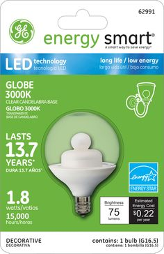 GE Energy Smart 10W Replacement (1.8W) Globe G16.5 LED Bulb (Warm, Clear, E12, Energy Star) $19.95