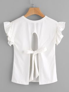 Shop Split Tie Back Frill Sleeve Tshirt online. SheIn offers Split Tie Back Frill Sleeve Tshirt & more to fit your fashionable needs. Linen Dress Pattern, Latest T Shirt, Clothing Hacks, T Shirts For Women, Clothes For Women, Shirt Shop, Tee Shirt, Cute Shirts, Baby Dress