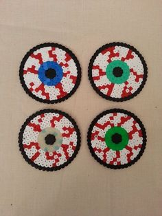 Halloween creepy bloodshot eye coasters hama perler beads by KimsHandmadeCave by taylor