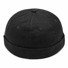 3eca44df410 Mens Cotton Adjustable Brimless Hats Bucket Cap