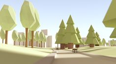 low-poly Parc du Verney, Chambery on Behance