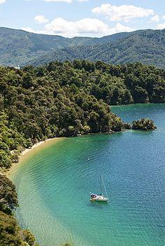Okiwa Bay, Marlborough Sounds, South Island, New Zealand, Pacific Marlborough Sounds Nz, Marlborough New Zealand, Natural Scenery, South Island, British Isles, High Angle, Beautiful Places, Around The Worlds, Stock Photos