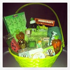 Perfect Minecraft Easter basket! And a few items came from The Dollar Tree!