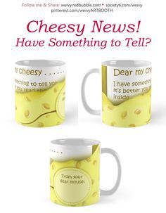'Cheesy News: Have Something to Tell?' Mug by We ~ Ivy Presents For Friends, Good Cause, To Tell, Travel Mug, Ivy, Coffee Mugs, Gift Ideas, Personalized Items, News