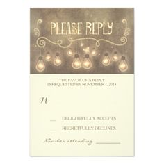 vintage rustic wedding RSVP cards with rope lights - lightbulbs design #whimsical #wedding #rsvp #string #lights #wedding #rsvp #light #bulbs #wedding #rsvp #rustic #wedding #rsvp #vintage #wedding #rsvp #romantic #wedding #rsvp #creative #wedding #response #old #typography #wedding #rsvp #handwritten #rsvp #lightbulbs #wedding #reply #dreamy #reply #cards #special #rsvp
