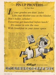 """""""It's easier to win the race with breakfast in your inner space""""  Kellogg's, 1963"""