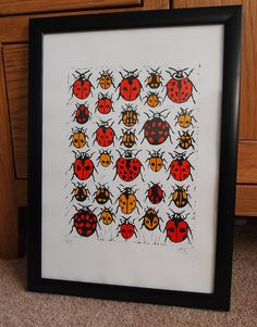 Ladybugs - Lino Print. Ladybirds Print.