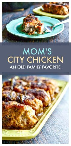 My mom's city chicken was a family favorite growing up. It's an easy to make weeknight meal made from pork not chicken. Baked Chicken Recipes, Pork Recipes, Baking Recipes, Recipies, Crispy Chicken, Family Recipes, Turkey Recipes, Family Meals, Entree Recipes