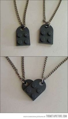21 Coolest Things Ever Made Out Of Lego Cute and simple Valentine's Day gift for a boyfriend or girlfriend! I think it's adorable. ♥Cute and simple Valentine's Day gift for a boyfriend or girlfriend! I think it's adorable. Lego Necklace, Necklace Set, Daughter Necklace, Lego Valentines, Be My Valentine, Collar Lego, Diy Jewelry, Jewelery, Lego Jewelry