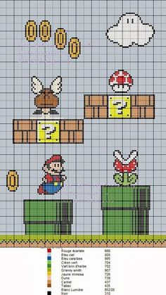 Thrilling Designing Your Own Cross Stitch Embroidery Patterns Ideas. Exhilarating Designing Your Own Cross Stitch Embroidery Patterns Ideas. Geek Cross Stitch, Cross Stitch Charts, Cross Stitch Patterns, Mario Crochet, Motifs Perler, Perler Patterns, Cross Stitching, Cross Stitch Embroidery, Hand Embroidery