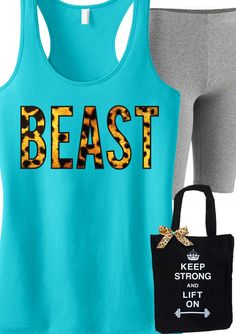 Fashionable #Workout Clothing and Gear! Featuring a BEAST Leopard Tank and KEEP STRONG LIFT ON Tote. By NoBullWomanApparel, $24.99 on Etsy. Click here to buy https://www.etsy.com/listing/168161018/beast-leopard-tank-top-workout-clothes?ref=shop_home_active_11