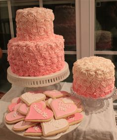 Pink Ombre for 1st Birthday Girl.  Valentines.  Conversation Hearts.  Smash cake. Two Tiered cake.  Party