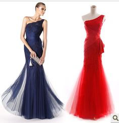 2013 wedding formal dress slim fish tail red long design one shoulder evening dress bridal evening dress
