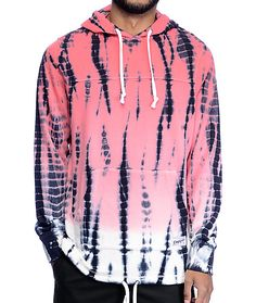 Get a crazy, cool, and unique style in the Ocean Floor pink tie dye hoodie from Empyre. This pink, blue and white colorway features a vertical stripe tie dye pattern throughout that is hand done to ensure that no two hoodies are the same. The adjustable b