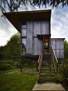 Olson Kundig Modern Steel Cabin in Washington's Olympic Peninsula