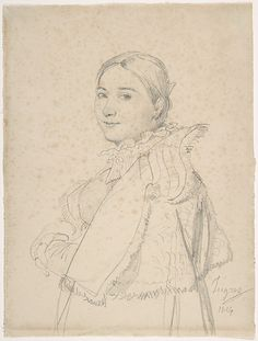 1814 Portrait of Madame Ingres, née Madeleine Chapelle by Jean-Auguste-Dominique Ingres (French) graphite on paper MET Museum
