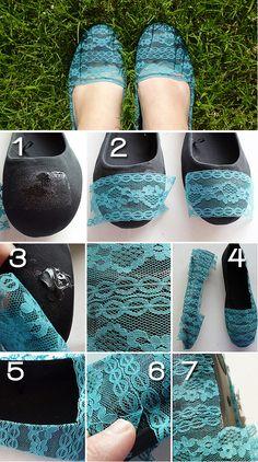 Faça Você Mesmo - Transforme sapatos simples usando renda e cola de tecido