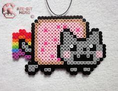 Nyan Cat Cute Necklace Bead Sprite Perler Art Ate Bit #AteBit