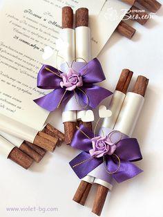 Purple rose handmade invitation scrolls from www.violet-bg.com