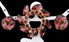 Prong Set Amethyst Rhinestone Demi Set Gold Brooch Earrings Purple Vintage | eBay