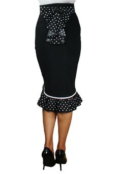 Black High Waist Rockabilly Pin Up Ruffled Pencil Skirt with Polka Dots | eBay