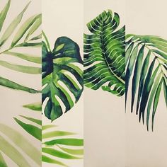 #tropical #leaves #foliage #painting #watercolour #green #textiledesign #textiles #surfacedesign #surfacepattern #print #printdesign #fashion #springsummer #patternbankdesigner IG: @kay_wilcox21
