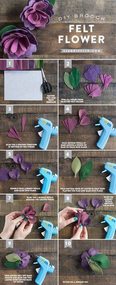 Beautiful flower made from felt for tutorials. Find more similar crafts at http://welliesandlemonade.com