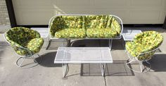 And this set has the original flower pattern cushions - both seat and backrest - in super shape! Six pieces plus cushions - Hard to find love seat! - Coffee table. Local pickup in the Denver, Colorado area. | eBay!
