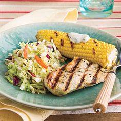45 Quick-Fix Chicken Suppers | Grilled Chicken With Corn and Slaw | SouthernLiving.com    Doesn't sound half-bad