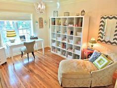 Traditional Home Office with Creative motion 4 light mini chandelier, Ikea kallax shelving unit, Chandelier, Crown molding