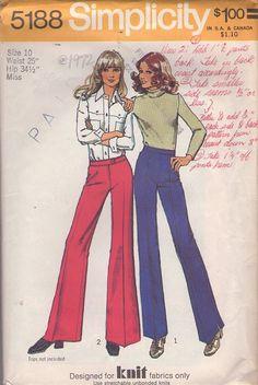 MOMSPatterns Vintage Sewing Patterns - Simplicity 5188 Vintage 70's Sewing Pattern GROOVY Retro High Waisted or Hip Hugger Creased Leg Bell Bottoms Pants, Knits Size 10