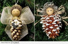 de Nol: 28 DIY make with pine cones! - Dco de Nol: 28 DIY make with pine cones! -Dco de Nol: 28 DIY make with pine cones! - Dco de Nol: 28 DIY make with pine cones! Diy Christmas Ornaments, Homemade Christmas, Rustic Christmas, Christmas Decorations, Ornaments Design, Angel Crafts, Christmas Projects, Holiday Crafts, Christmas Ideas