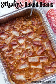 Easy Smoker Baked Beans with Bacon Baked Beans on the smoker is an easy side dish for all your spring and summer barbecues! Topped with bacon, this classic recipe is the BEST and is the perfect pair to your smoked meat. Smoker Grill Recipes, Smoker Cooking, Grilling Recipes, Electric Smoker Recipes, Smoker Cookbook, Bbq Grill, Traeger Recipes, Smoked Meat Recipes, Barbacoa